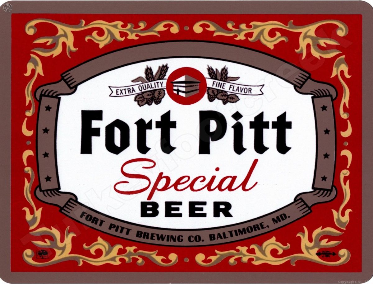 "FORT PITT PILSENER BEER 9/"" x 12/"" Sign"