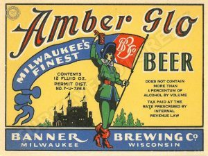this is an amber glo beer label metal sign