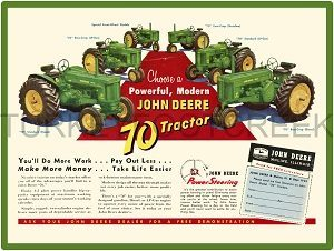 Two Cylinder Models on Parade John Deere Tractors New Metal Sign